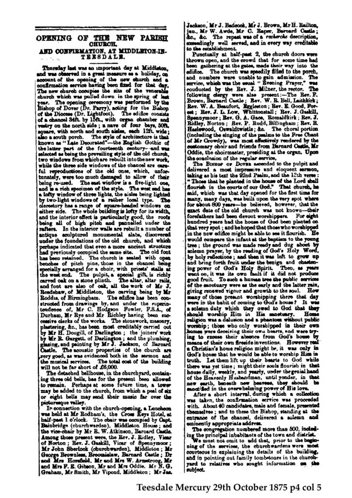 Teesdale Mercury Report 1879